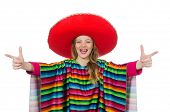 pic of mexican  - Pretty girl in mexican poncho isolated on white - JPG