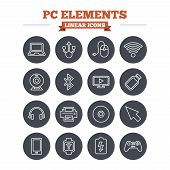 picture of flashing  - Computer elements linear icons set - JPG