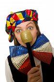 stock photo of maracas  - Pretty female clown with maracas isolated on white - JPG