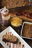 stock photo of meatloaf  - shot of Bbq Bacon Cheddar Meatloaf Dinner Vertical  - JPG