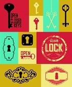 picture of key  - Retro icons set of keys  - JPG