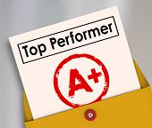 Постер, плакат: Top Performer and letter grade A Plus stamped on it to illustrate the best score rating review or