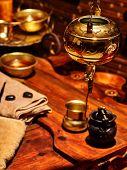 foto of panchakarma  - Luxury ayurvedic spa massage still life in interior - JPG