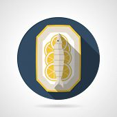 pic of long-fish  - Single flat style colored round vector icon for prepared fish on plate with lemon on gray background with long shadows - JPG