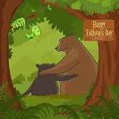 picture of bear cub  - Father bear loving and hugging his cub in the forest on occasion of Happy Father - JPG