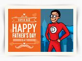 stock photo of outfits  - Father in super hero outfits on city view background - JPG
