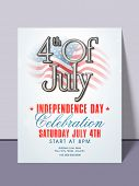 stock photo of nationalism  - Stylish invitation card with national flag for 4th of July - JPG