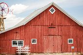 pic of red barn  - Red old barn on historical farm in Parker Colorado - JPG
