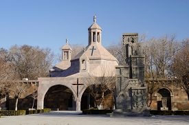 picture of armenia  - Saint Vartan Baptistery at Etchmiadzin church and Genocide Memorial Monument in Echmiadzin - JPG