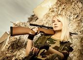 image of girls guns  - Beautiful woman soldier with a sniper rifle - JPG