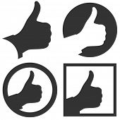 Thumbs up. Set of design elements.