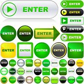 Enter button. Vector set for web.