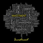 INVESTMENT. Word collage on black background. Vector illustration.