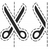 Vector scissors with cut lines.
