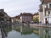 Tourists On The Annecy Canal poster