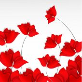 Bright Paper-cut Style Red Flowers Field On White Background. 3D Vector, Card, Happy, Spring, Summer poster