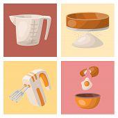 Baking Pastry Prepare Cooking Ingredients Kitchen Cards Utensils Homemade Food Preparation Baker Vec poster