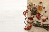 Herbal Medicine. Alternative Medicine Concept. Dry Organic Natural Ingridients. Wild Berry And And M poster