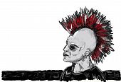 picture of mohawk  - painted punk rocker with mohawk  - JPG
