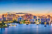 Sarasota, Florida, USA skyline on the bay at dawn. poster