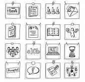 Doodle Business Career Development Elements Set With Human Resources Management Recruitment Icons On poster
