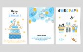 Happy Birthday Cards Set In Blue And Golden Colors. Celebration Vector Templates With Birthday Cake  poster