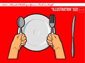 foto of table manners  - An isolated vector of a hand holding spoon - JPG