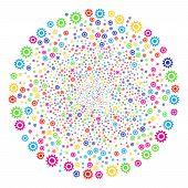 Psychedelic Cogwheel Sparked Globula. Vector Spheric Cluster Burst Done From Scattered Cogwheel Obje poster