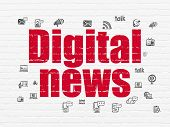 News Concept: Painted Red Text Digital News On White Brick Wall Background With  Hand Drawn News Ico poster