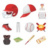 Baseball And Attributes Cartoon Icons In Set Collection For Design.baseball Player And Equipment Vec poster