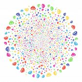 Bright Diamond Decoration Cluster. Vector Round Cluster Explosion Designed From Randomized Diamond E poster