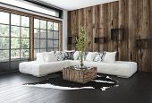 Stylish rustic living room with wood paneling on the wall and window frames, a hardwood floor, corne poster