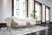 Large spacious luxury minimalist living room interior with a comfortable white sofa on a rug on a wo poster