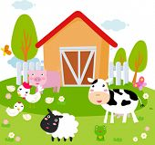 pic of farm animals  - Rural landscape with farm animals - JPG