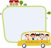 a school bus heading to school with happy children and frame
