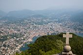 stock photo of salvatore  - View of Lugano from San Salvatore mountain with a cross in front - JPG