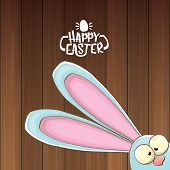 Easter Bunny With Calligraphic Text Happy Easter Isolated On Wooned Background. Vector Easter Greeti poster