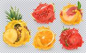 Strawberry, Pineapple, Orange, Watermelon, Peach Juice. Fresh Fruits And Splashes, 3d Vector Icon Se poster