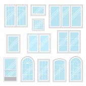 Modern Shiny Windows With White Frames Set Isolated Vector Illustration. Architectural Interior And  poster
