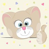 Good Cute Cat. Greeting Card. Illustration Done In Cartoon Style. poster