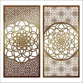 Set Of Vector Laser Cut Panel. Pattern Template For Decorative Panel. Wall Panels Or Partition. Jigs poster