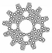Cogwheel Mosaic Of Cogs. Vector Gear Symbols Are Composed Into Cogwheel Collage. poster