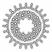 Cogwheel Mosaic Of Gear Elements. Vector Gear Objects Are Combined Into Cogwheel Mosaic. poster