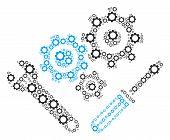 Mechanics Tools Mosaic Of Cog Wheels. Vector Cog Elements Are Grouped Into Mechanics Tools Mosaic. poster