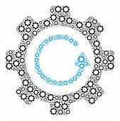 Gear Rotation Direction Mosaic Of Gear Elements. Vector Tooth Gear Components Are Organized Into Gea poster