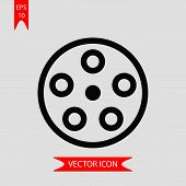 Reel Wheel Icon Vector In Modern Flat Style For Web, Graphic And Mobile Design. Reel Wheel Icon Vect poster