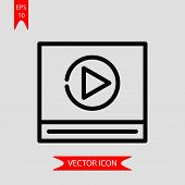 Video Player Icon Vector In Modern Flat Style For Web, Graphic And Mobile Design. Video Player Icon  poster