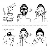 Face Skin Care Set With Girl Isolated Illustration. Girl Washing Her Face, Cleansing And Applying Co poster