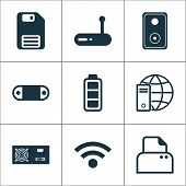 Hardware Icons Set With Modem, Floppy Disk, Global Connection And Other Accumulator Sign Elements. I poster