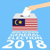 Malaysian General Elections 2018 Vector Illustration Flat Style - Hand Putting Voting Paper In The B poster